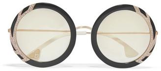 Alice + Olivia Beverly Swarovski Crystal-embellished Round-frame Acetate Sunglasses - Black
