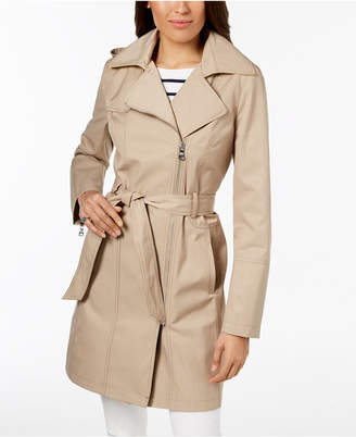 Vince Camuto Petite Hooded Asymmetrical Trench Coat