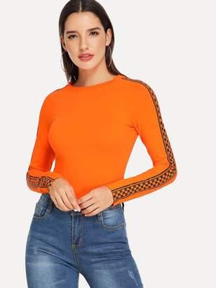 Shein Neon Orange Check Print Raglan Sleeve Fitted T-shirt
