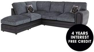 Monico Left Hand Single Arm Standard Back Corner Chaise Sofa + Footstool