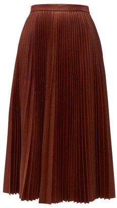 Prada Pleated Leather Midi Skirt - Womens - Brown