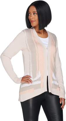 Halston H By H by Long Sleeve Jacquard Sweater Cardigan