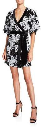 Jay Godfrey Lanai Sequin Floral Elbow-Sleeve Kimono Wrap Dress