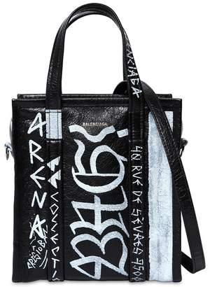 Balenciaga Xs Bazar Graffiti Leather Tote Bag