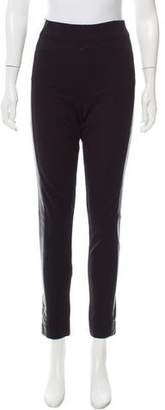 Robert Rodriguez Leather-Accented High-Rise Pants