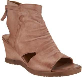 Miz Mooz Leather Open Toe Wedge Booties - Becca