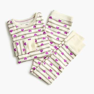 J.Crew Girls' pajama set in hearts and stripes