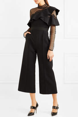 Self-Portrait Cropped Ruffled Guipure Lace And Crepe Jumpsuit - Black