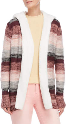 Almost Famous Striped Sherpa Trim Hooded Open Cardigan