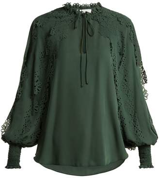 See by Chloe Ruffled-trim georgette blouse