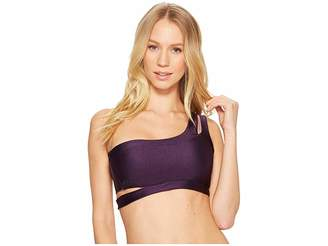Becca by Rebecca Virtue Reversible Shimmer Asymmetrical Bra Women's Swimwear