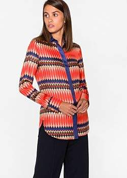 Paul Smith Women's Multi-Coloured 'No.9' Print Silk-Twill Shirt