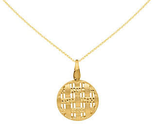 "QVC 14K Gold Round Woven Pendant w/18"" Chain"