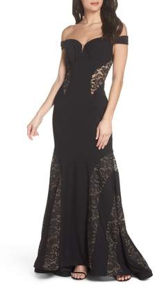 Xscape Evenings Off the Shoulder Lace Inset Gown