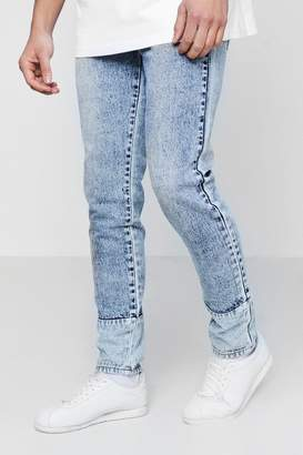 boohoo Skinny Fit Acid Wash Jeans With Panelled Hem