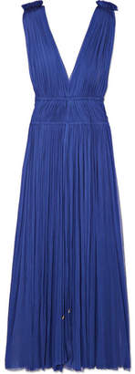 Elena Makri - Vereniki Pleated Silk-tulle Midi Dress - Cobalt blue
