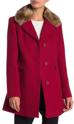 Kate Spade Wool Blend Detachable Faux Fur Collared Jacket