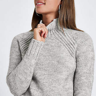 River Island Grey marl high neck knitted sweater