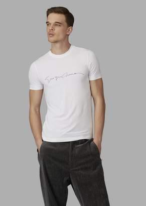 Giorgio Armani Stretch Viscose T-Shirt With Signature