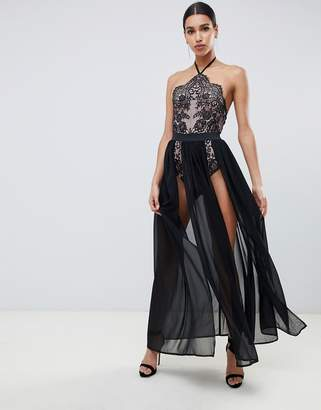 Rare London maxi dress with double splits and halter neck bodysuit underlay in black