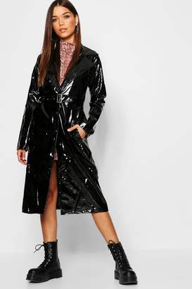 boohoo Patent Button Front Trench Coat