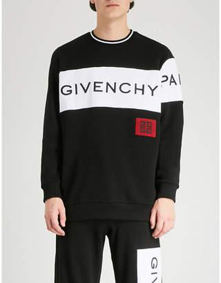 Givenchy Stripe logo cotton-jersey sweatshirt