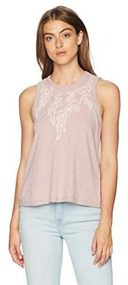 Lucky Brand Women's Embroidered Leaf Ruched Back Tank TOP