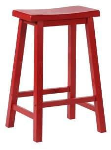 Powell Saddle Bar Stool, Crimson Red