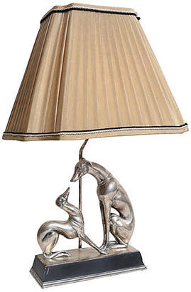 One Kings Lane Vintage Bronze Plate Lamp with Whippet Dogs