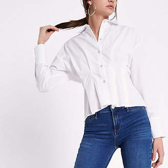 River Island Womens White poplin frill fitted shirt