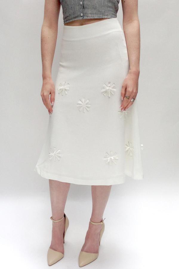 JOA Floral Cutout Midi-Skirt