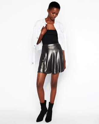 Express Metallic Flared Mini Skirt