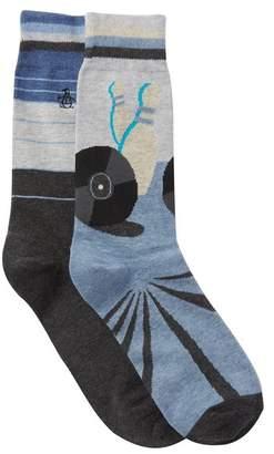 Original Penguin Assorted Print Crew Socks - Pack of 2