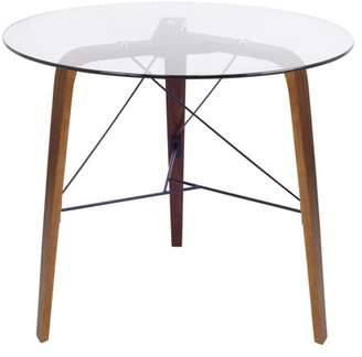 Lumisource Trilogy Contemporary Round Dining Table in Walnut Wood and Clear Glass
