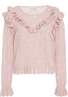LoveShackFancy Natalie Ruffle Eyelet Sweater