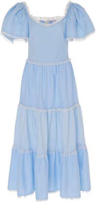 Luisa Beccaria Checked Cotton-Blend Midi Dress