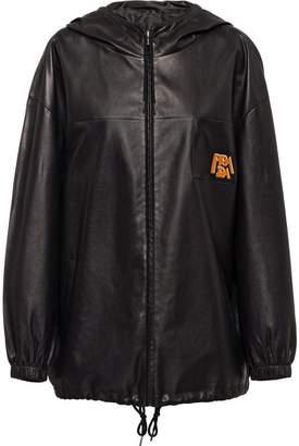 Prada Nappa leather hooded jacket