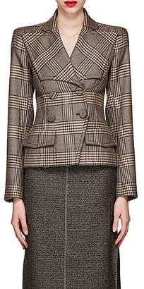 Fendi Women's Plaid Wool Double-Breasted Blazer - Brown