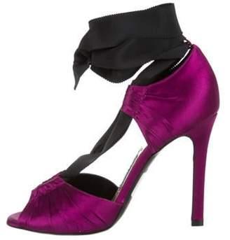 Tom Ford Satin Peep-Toe Pumps w/ Tags Purple Satin Peep-Toe Pumps w/ Tags