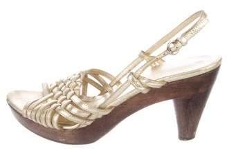 Miu Miu Metallic Slingback Sandals