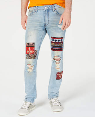 GUESS Men Patched Skinny Jeans