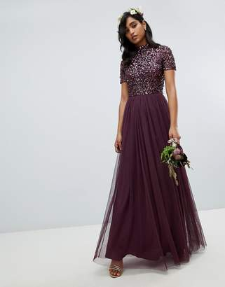 9acfad17c85d Maya high neck maxi tulle dress with tonal delicate sequins in berry