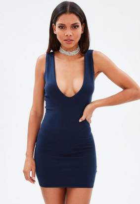 Missguided Navy Extreme Scoop Knit Mini Dress