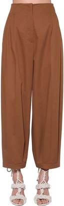 Max Mara Cropped High Waist Cotton Twill Pants