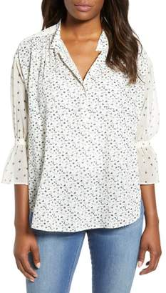 Lucky Brand Mix Print Cream Floral Blouse