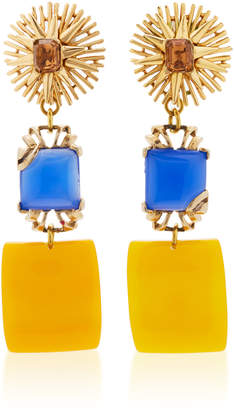 Lulu Frost One-Of-A-Kind Vintage Vibrant Topaz Glass Drop Earrings