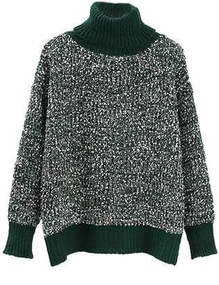 Goodnight Macaroon 'Lawan' Roll Neck Mixed Knit Sweater (3 Colors)