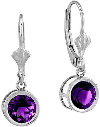 FINE JEWELRY Round Genuine Amethyst 14K White Gold Leverback Earrings