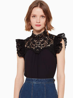 Kate Spade Lace yoke sleeveless top