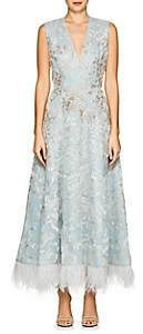 J. Mendel Women's Feather-Trimmed Beaded Silk Cocktail Dress-Aqua